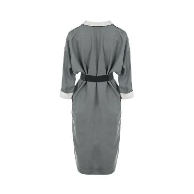 dolman sleeve belt dress gray